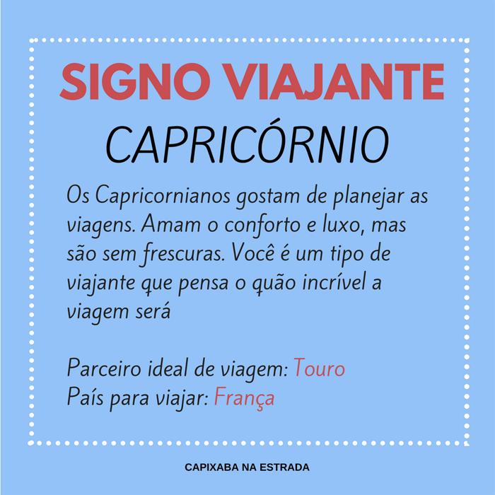 signo viajante - capricórnio