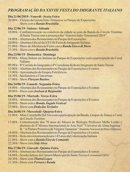 28ª festa do imigrante de Santa Teresa- Programação 2019